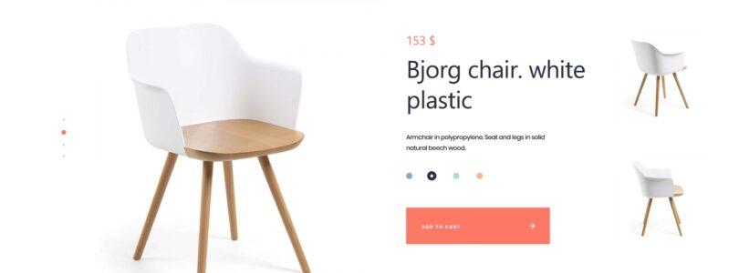 Hjemmeside med produkter